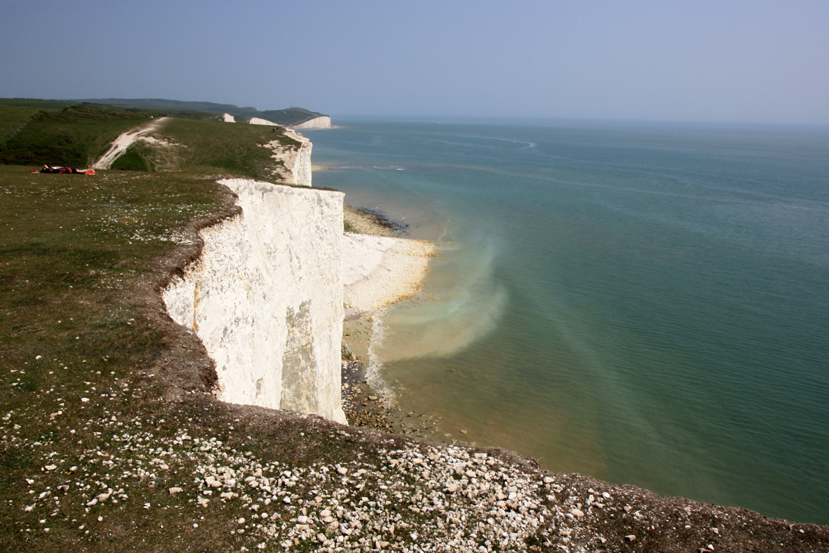 Cliff fall with chalk being dissolved by the sea